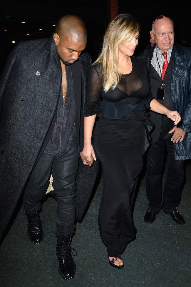 Ким Кардашьян и Канье Уэст на модном показе «Givenchy 2014» в Париже: kim-kardashian-fashion-show-2013-in-paris--11_Starbeat.ru