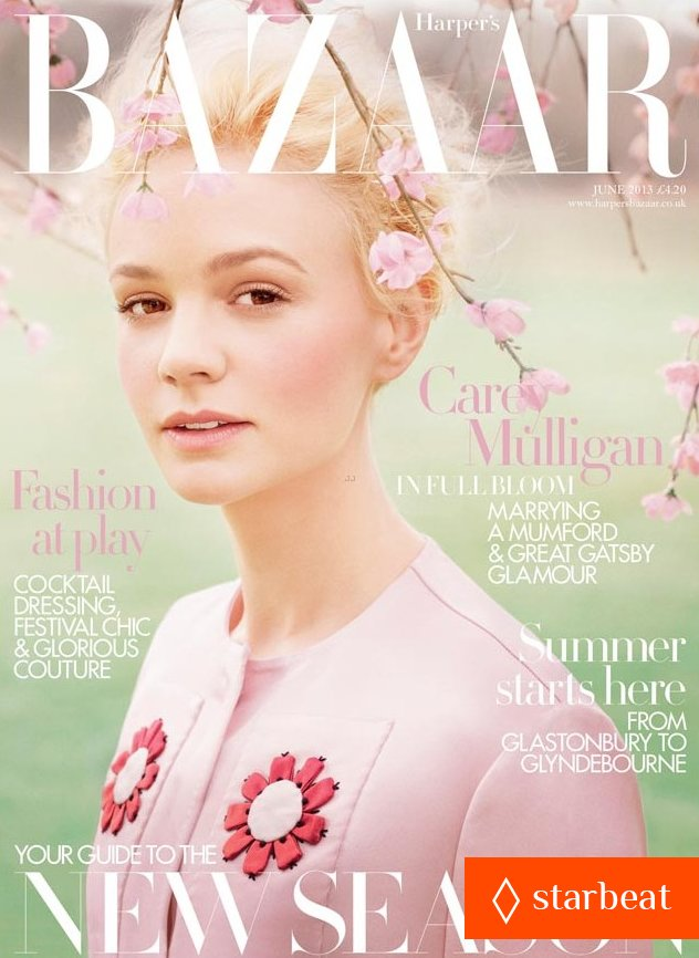 Обзор летних обложек глянцевых журналов 2013: Carey-Mulligan-Covers-'Harper's-Bazaar-UK'-June-2013