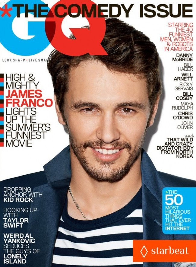 Обзор летних обложек глянцевых журналов 2013: James-Franco-Covers-'GQ'-Magazine's-Comedy-Issue-June-2013-650x885