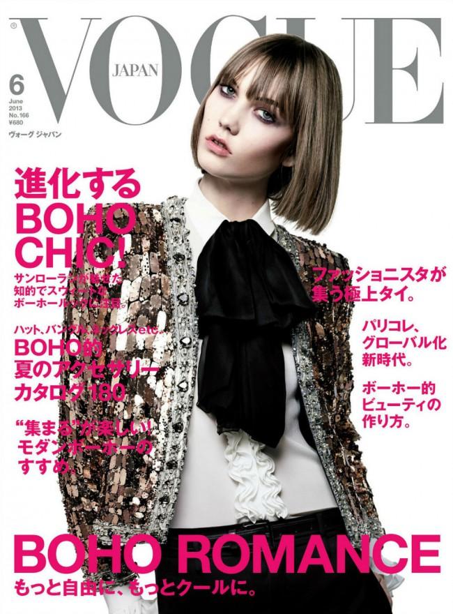 Обзор летних обложек глянцевых журналов 2013: Karlie-Kloss-by-Hedi-Slimane-for-Vogue-Japan-June-2013-650x880
