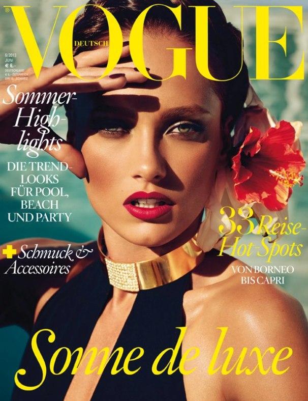 Обзор летних обложек глянцевых журналов 2013: Karmen-Pedaru-by-Alexi-Lubomirski-for-Vogue-Germany-June-2013