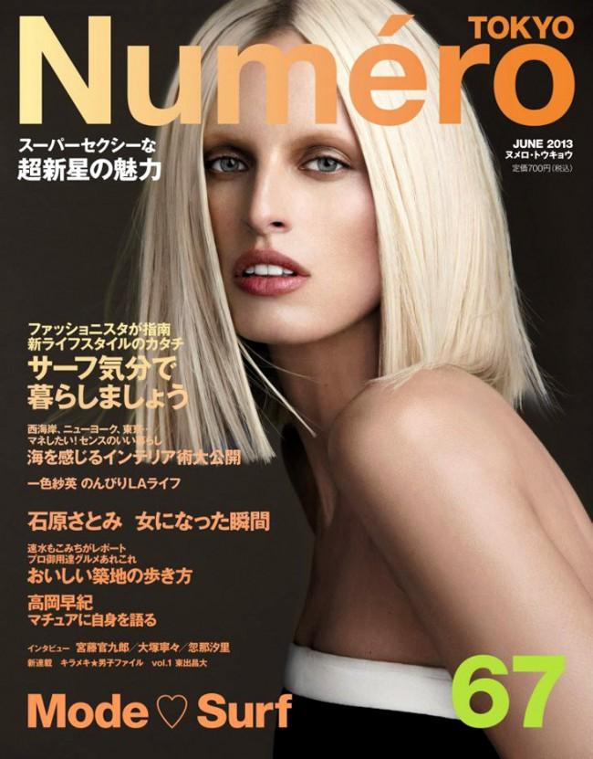 Обзор летних обложек глянцевых журналов 2013: Karolina-Kurkova-by-Nino-Muñoz-for-Numero-Tokyo-June-2013-650x831