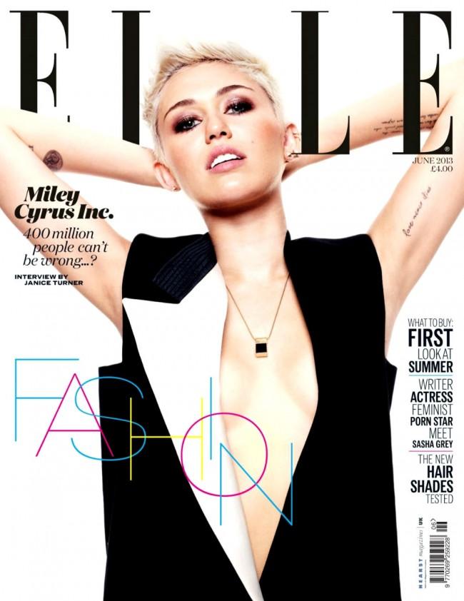 Обзор летних обложек глянцевых журналов 2013: Miley-Cyrus-by-Jan-Welters-for-Elle-UK-June-2013-650x842