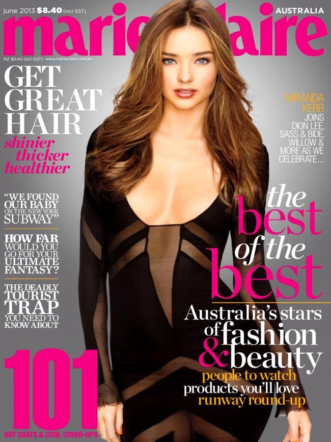 Обзор летних обложек глянцевых журналов 2013: Miranda-Kerr-for-Marie-Claire-Australia-June-2013-650x866