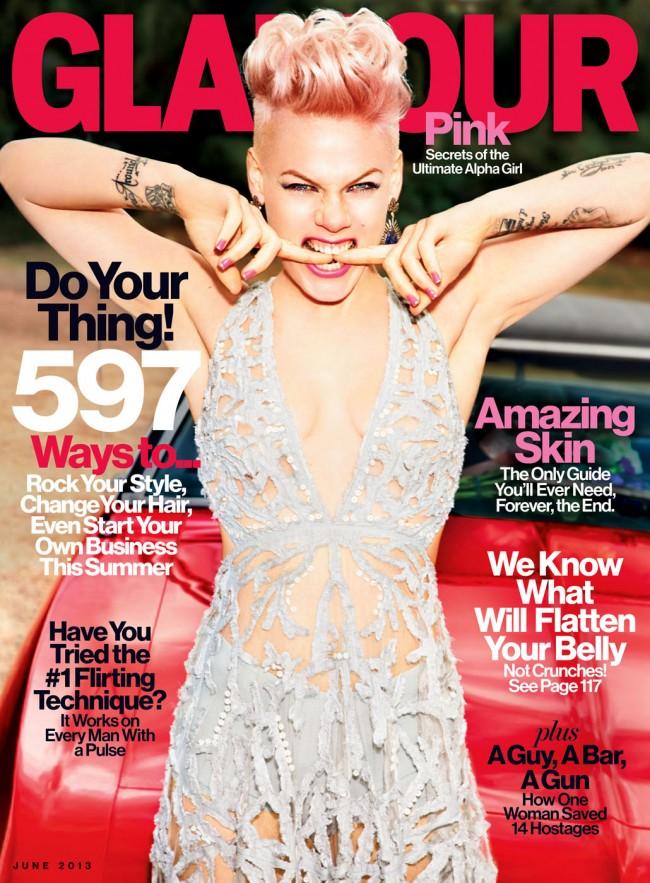 Обзор летних обложек глянцевых журналов 2013: Pink-by-Ellen-von-Unwerth-for-Glamour-US-June-2013-650x883