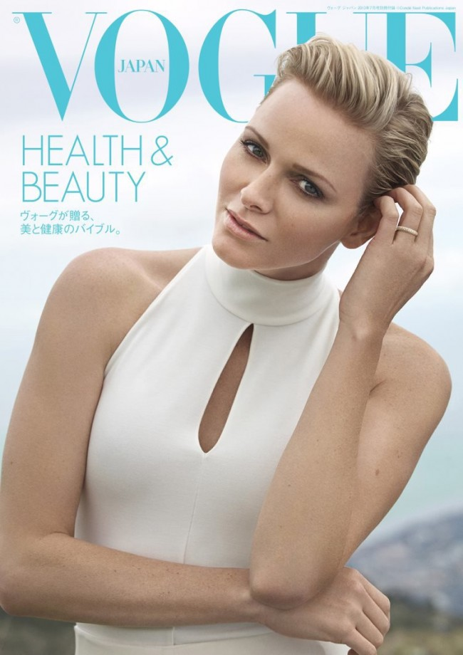 Обзор летних обложек глянцевых журналов 2013: Princess-Charlene-of-Monaco-is-Vogue-Nippon's-July-2013-Health-Beauty-Cover-Girl-650x920