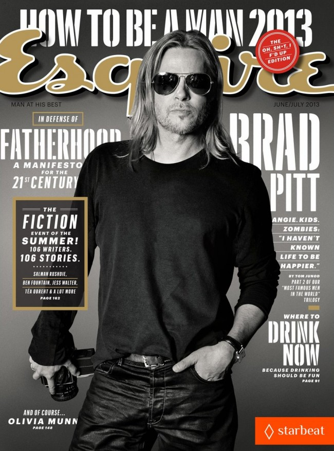 Обзор летних обложек глянцевых журналов 2013: brad-pitt-to-esquire-i-havent-known-life-to-be-any-happier-05_Starbeat.rujune-july-650x877