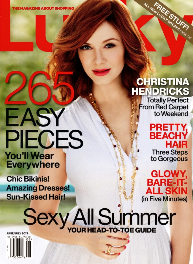 Обзор летних обложек глянцевых журналов 2013: christina-hendricks-lucky-us-magazine-01_Starbeat.ru-june-july-650x887