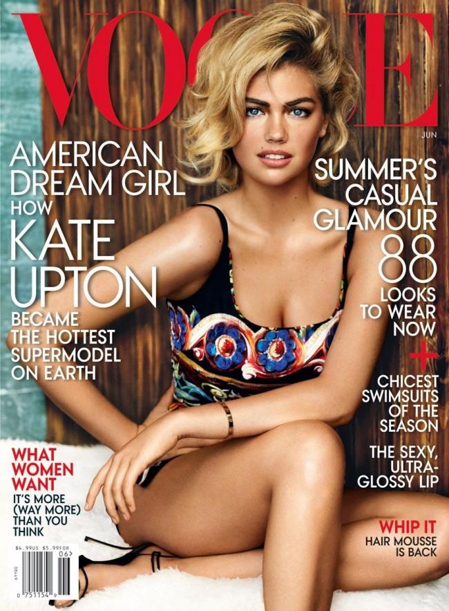 Обзор летних обложек глянцевых журналов 2013: kate-upton-12_vogue-650x883