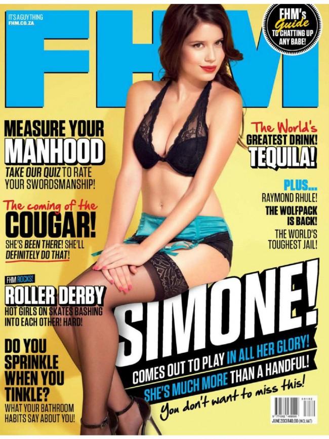 Обзор летних обложек глянцевых журналов 2013: simone-de-kock-FHM-june-650x866